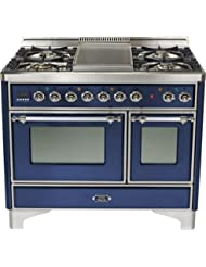 Ilve UMD-100FDMPBLX 40 Majestic Dual Fuel Freestanding Range with 2.44 cu. ft. & 1.44 cu. ft. Ovens Full-Width Warming Drawer Rotisserie 5 Burners with Griddle: Midnight Blue with Chrome