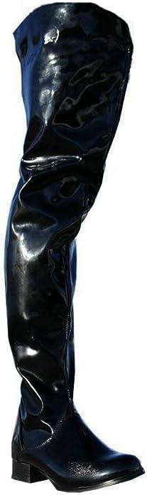 Erogance Flache Lack Crotch High Heels Overknee Stiefel Schwarz EU 36 46A3604