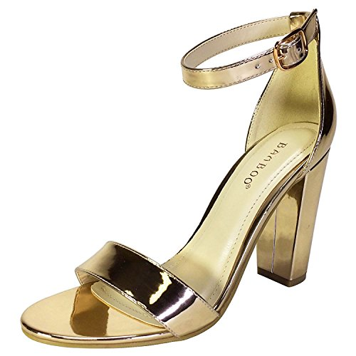 Single Patent Strap Band Heel Women's Bamboo with Gold Ankle Sandal Chunky 85xqEHEvw