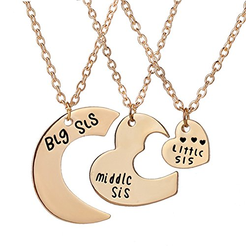 3 Pieces Heart Keychain Set Big Sis Middle Lil Sister Love Forever Necklace (rose gold sister necklace) (Sister Gold Big Charm)