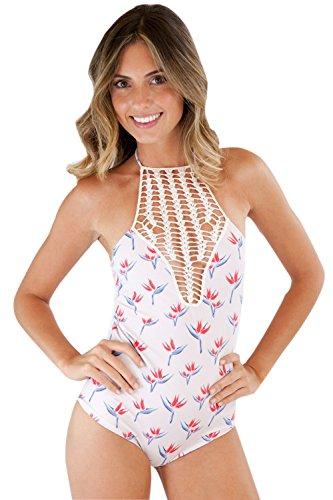 NiSeng Mujer Monokini Bikini Triángulo Floral Impresión Traje De Baño Una Pieza Bañador Como en la foto
