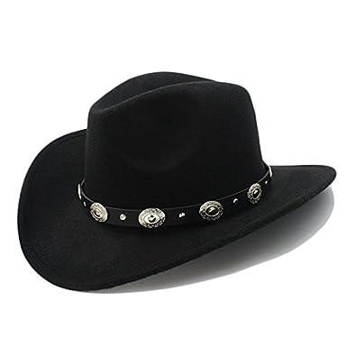 48b29dd63c6 CNBEAU Vintage Womem Men Western Cowboy Hat With Wide Brim Punk Belt  Cowgirl Jazz Cap With