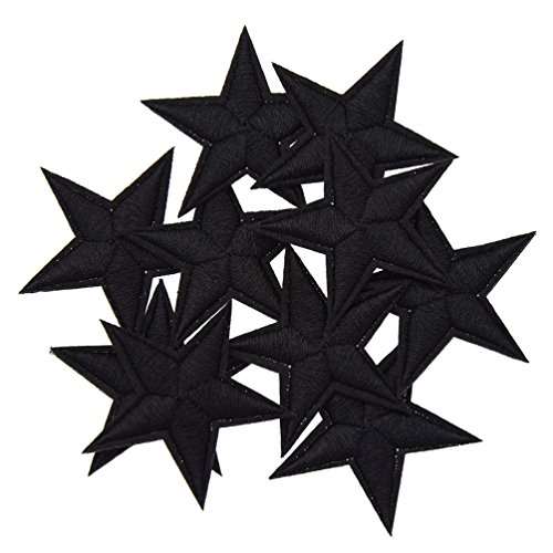 KOZOREN 10PCs Mini Star Strawberry Embroidered Iron On Badges Cartoon Pentagram Applique Patches for Sewing Craft (Black, M)