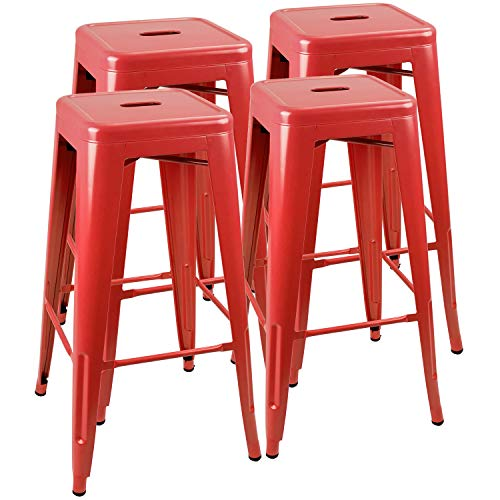 JUMMICO Metal Bar Stool Backless 30 Inches Stackable Barstools Indoor Outdoor Modern Industrial Bar Stools Set of 4 (Red) (Barstool Red)