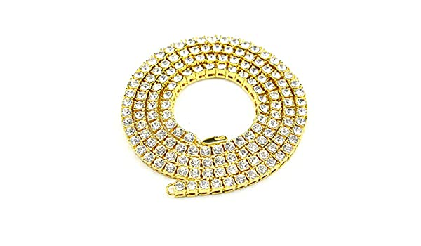 Elibone Mens Hip hop Necklace Iced Out 1 Row Rhinestone Choker Bling Crystal Tennis Chains Necklace 18inch-32inch