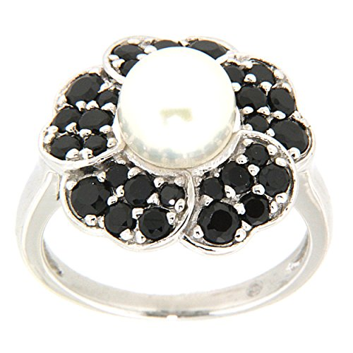 Pearlz Ocean White Freshwater Pearl and Black Spinel Flower Ring 5.5 Jewelry for Women - Ocean White Pearl Ring