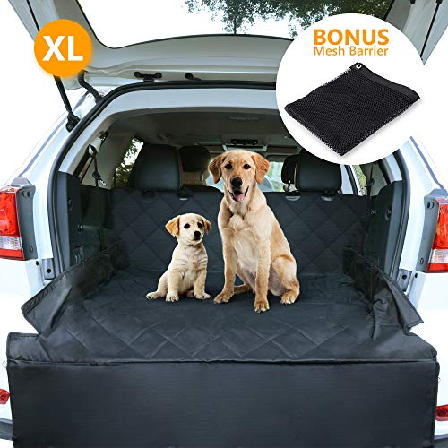 CCJK Dog Car Seat Cover & Cargo Liner Rear Bench, Waterproof Machine Washable & Nonslip Backing Free Pet Barrier Universal, Convertible Hammock Shaped Fit Cars SUV Trucks (Large) (Pet Cargo Net Barrier)