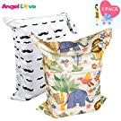 Cloth Diaper Wet and Dry Bags (Pack of 2), Angel Love Baby 2PCS Waterproof Washable Reusable Wet Bag with Two Zippered Pockets - Beach, Pool, Gym Bag for Swimsuits or Wet Clothes L2839