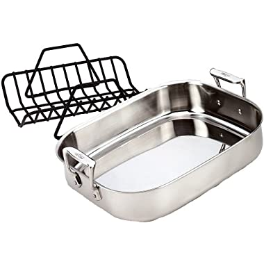 All-Clad 51114 Stainless Steel Petite Roti Pan with Nonstick V-Shaped Roasting Rack / Cookware, Silver