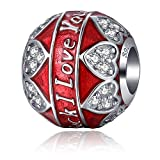 MallDou Jewelry 925 Sterling Silver Charm Red Enamel Bead I Love You to the Moon and Back Charms fit Pandora Bracelet