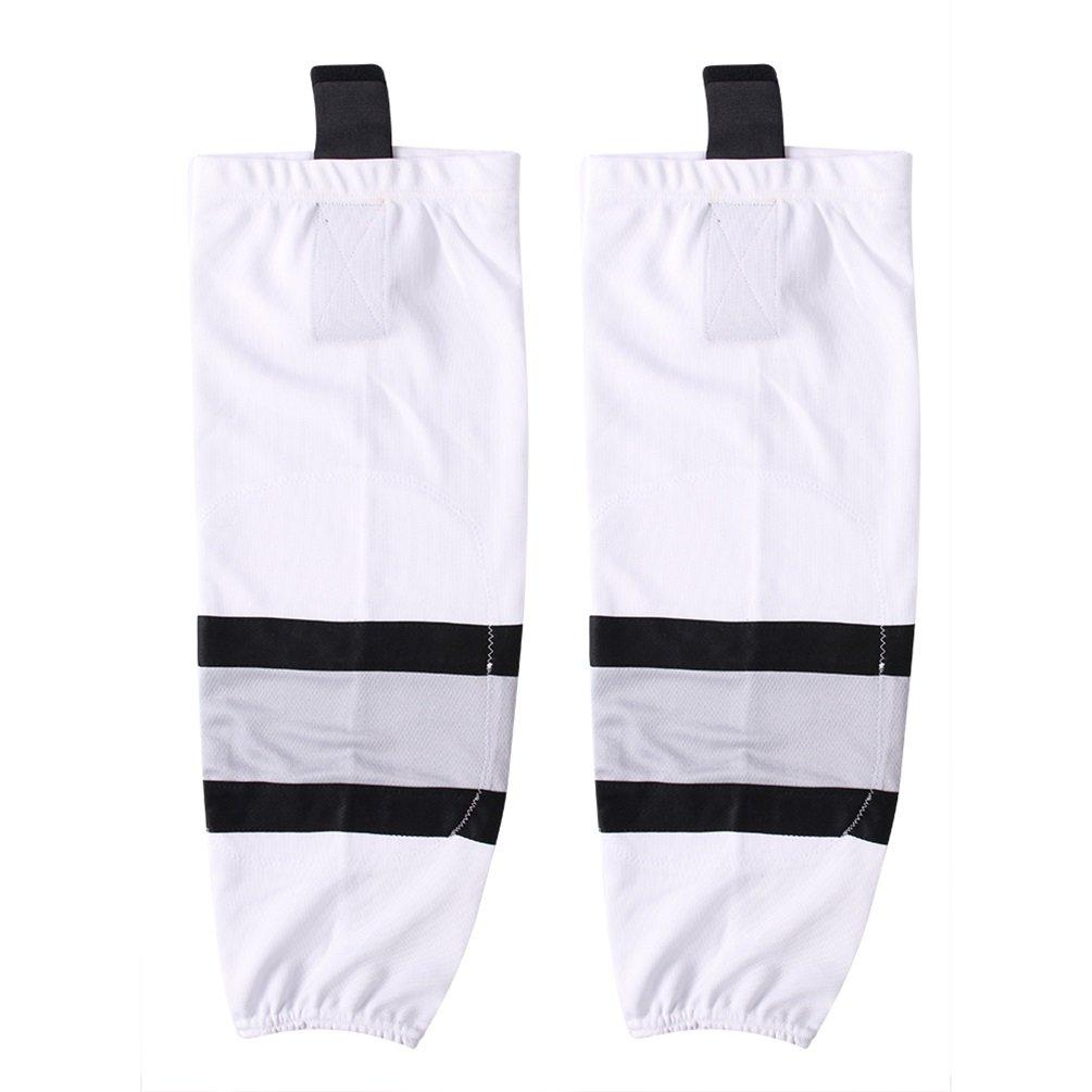 COLDINDOOR Ice Hockey Socks White, Child Youth Premium Shin Pads Hockey Socks Junior XS
