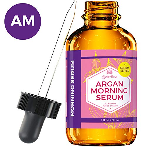 Argan Morning Serum by Leven Rose, 100% Pure Organic Natural Brightens Complexion Naturally Stimulates Collagen and Elastin Reduces Fine Lines and Wrinkles 1 oz