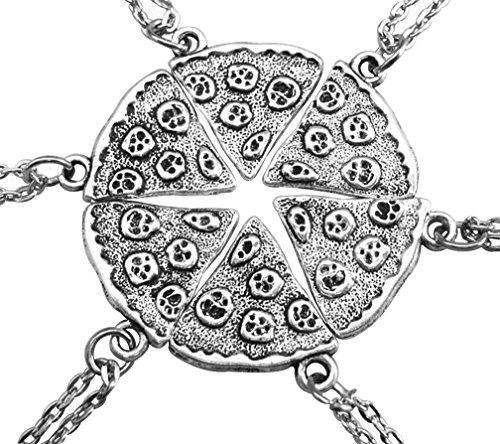 MJartoria Antique Silver Color Pizza Slice Friendship Necklace Set of 6 ()