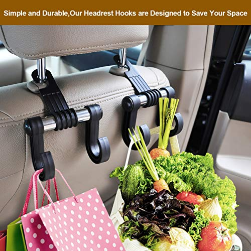 Large Product Image of Headrest-Hooks-for-Car-Organizer, Set of 2 Car Purse Hook Acessories Storage Holder for Handbags, Purses, Coats and Grocery Bags by ANCAR