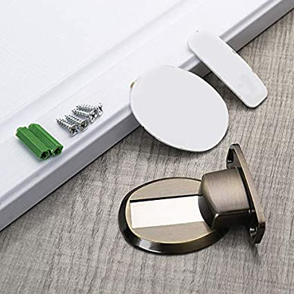 FinWell Anti-Collision Floor Mounted Holder Door Stopper Stop Catch Magnetic Invisible Stainless Steel Strong Magnetic Little Noise for Doors of Home