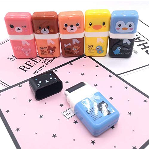 Pencil Erasers,Pencil Eraser Shaving Roller Case for Easy Pick Up and Removal | Animal Themed Cute and Fun Party Favor and School Supplies for Kids,Back to school gift(6 Pc)