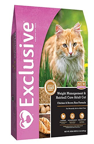 (Exclusive Weight Management and Hairball Care Adult Cat Food, Chicken & Brown Rice Recipe, 15 lb Bag)