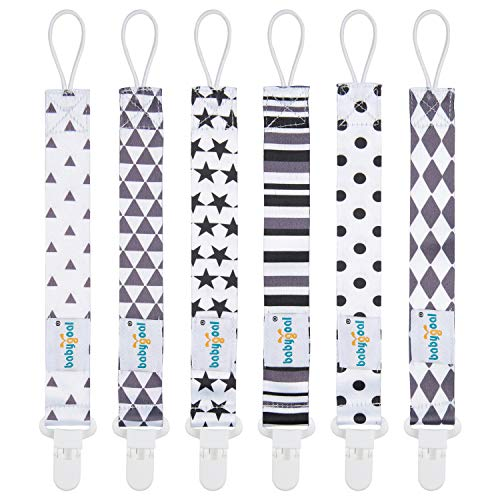 Babygoal Pacifier Clips, 6 Pack Pacifier Holder for Boys and Girls Fits Most Pacifier Styles,Teething Toys and Baby Shower Gift 6PB05