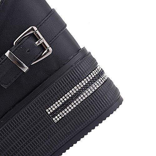 AmoonyFashion Womens Peep Toe Lace Up Pu Solid High Heels Sandals Black 4NW49