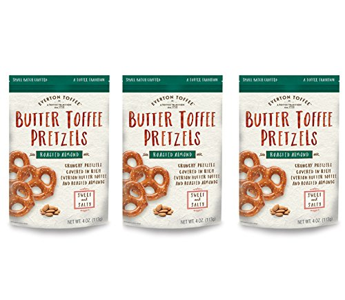 Everton Toffee Roasted Almond Pretzels 4 Ounce Bag (Pack of 3) (Roasted Almond, 4 Ounce Bag) (Pretzel Toffee)