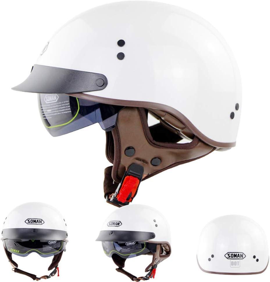 MTTK Retro Halbschalenhelm Jahrgang Motorradhelm mit integriertem Spiegel Pers/önlichkeit Motorrad elektrischen Zyklus Schutzhelm