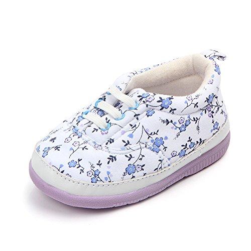 Kuner Baby Girls Flowers Pattern Rubber Sole Outdoor Sneaker First Walkers Shoes