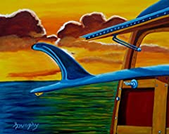 As the sun rises in the golden California sky a surfer is arriving with a board hanging out the back window of a classic Town and Country wagon known as a Woody. This painting has been created using professional grade acrylics on flat canvas ...