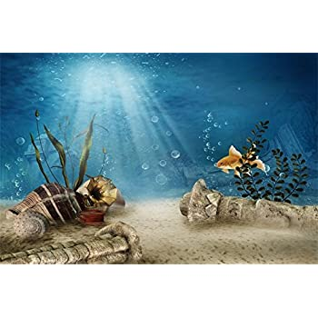 0e878f6f6285 OFILA Underwater Backdrop 5x3ft Underwater Site Photography Backdrop  Abandoned Castle Princess Portraits Fish Bubbles Aquatic Plant Seashell  Retro ...