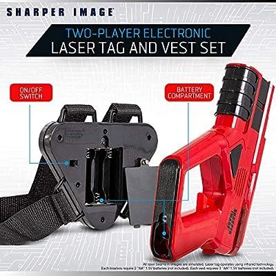 SHARPER IMAGE Two-Player Toy Laser Tag Gun Blaster & Vest Armor Set for Kids, Safe for Children and Adults, Indoor & Outdoor Battle Games, Combine Multiple Sets for Multiplayer Free-for-All!: Toys & Games