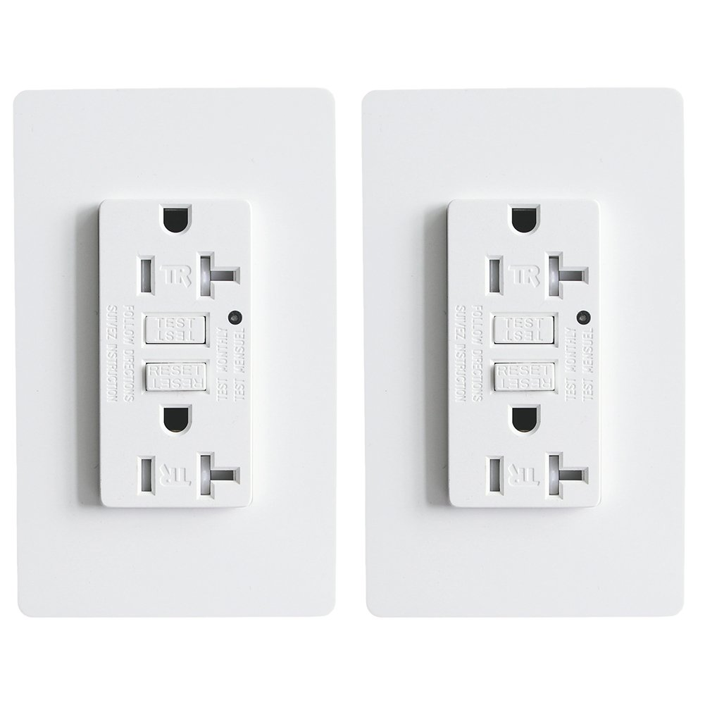 LEOD 20A 125V Self-Testing GFCI Outlet with green LED indicator light, 4 Pcs Free WallPlate and Screws Included, Tamper-resistant Auto-test GFCI socket, White, ETL/cETL Listed (2 Pack)