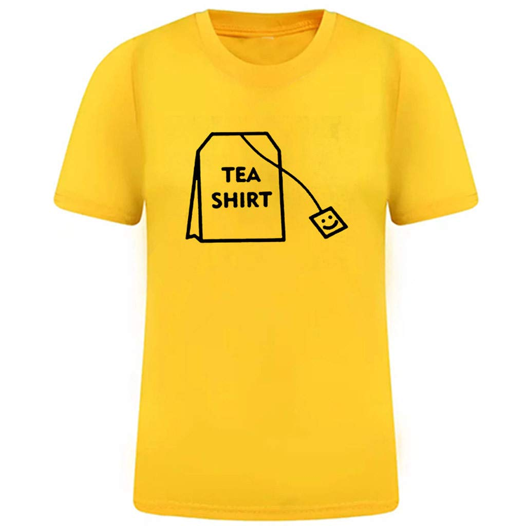 Women Summer Casual T-Shirt,Girl Funny Short Sleeve Cotton Shirts Cute Graphic Tee Top Blouse Yellow