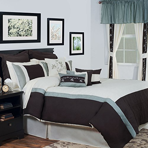 Bedford Home 24-Piece Annette Bed-in-a-Bag Bedroom Set, Queen (24 Piece Bed In A Bag Clearance)