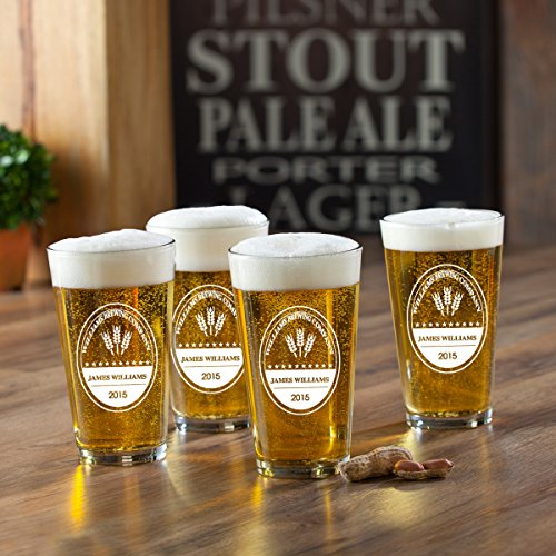 (Personalized Brewing Company Pint Glasses - Set of 4 Glasses- Custom Brewing Company Pint Glasses - Monogrammed Brewing Company Pint Glasses)
