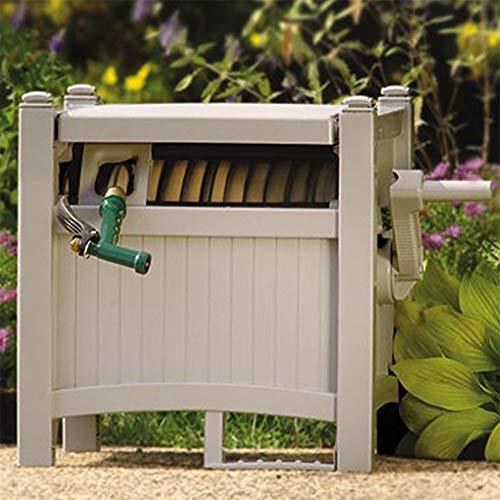 Suncast 100' Slide Trak Resin Garden Hose Reel Hideaway, Light Taupe (2 ()