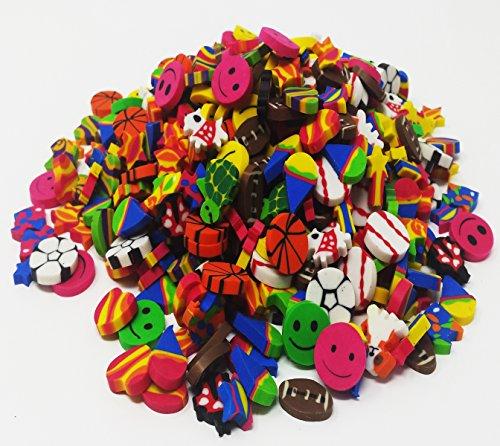 UPC 730656372083, Play Kreative Mini Eraser Assortment - 500 Pcs - Bulk School Erasers - Includes Animals, Sports, Smileys, Hearts, Stars and More..