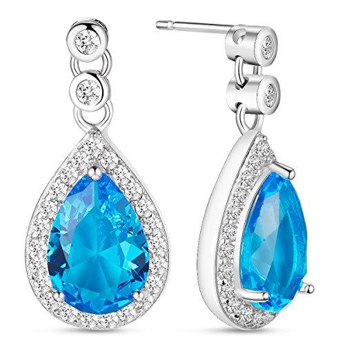 SWEETIEE - 925 Pur Argent Clous d'oreilles pendantes, Pendentif Goutte Micro Pave zircone avec Blue AAA Zircon, Argent, 21mm