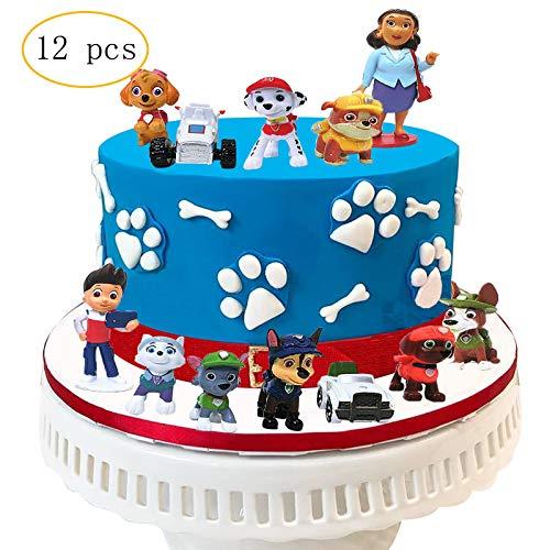 12PCS Paw Dog Patrol Cake Topper Mini Figures Baby Show Birthday Party Cake Decoration Supplie (Paw Patrol Cake Topper Round)