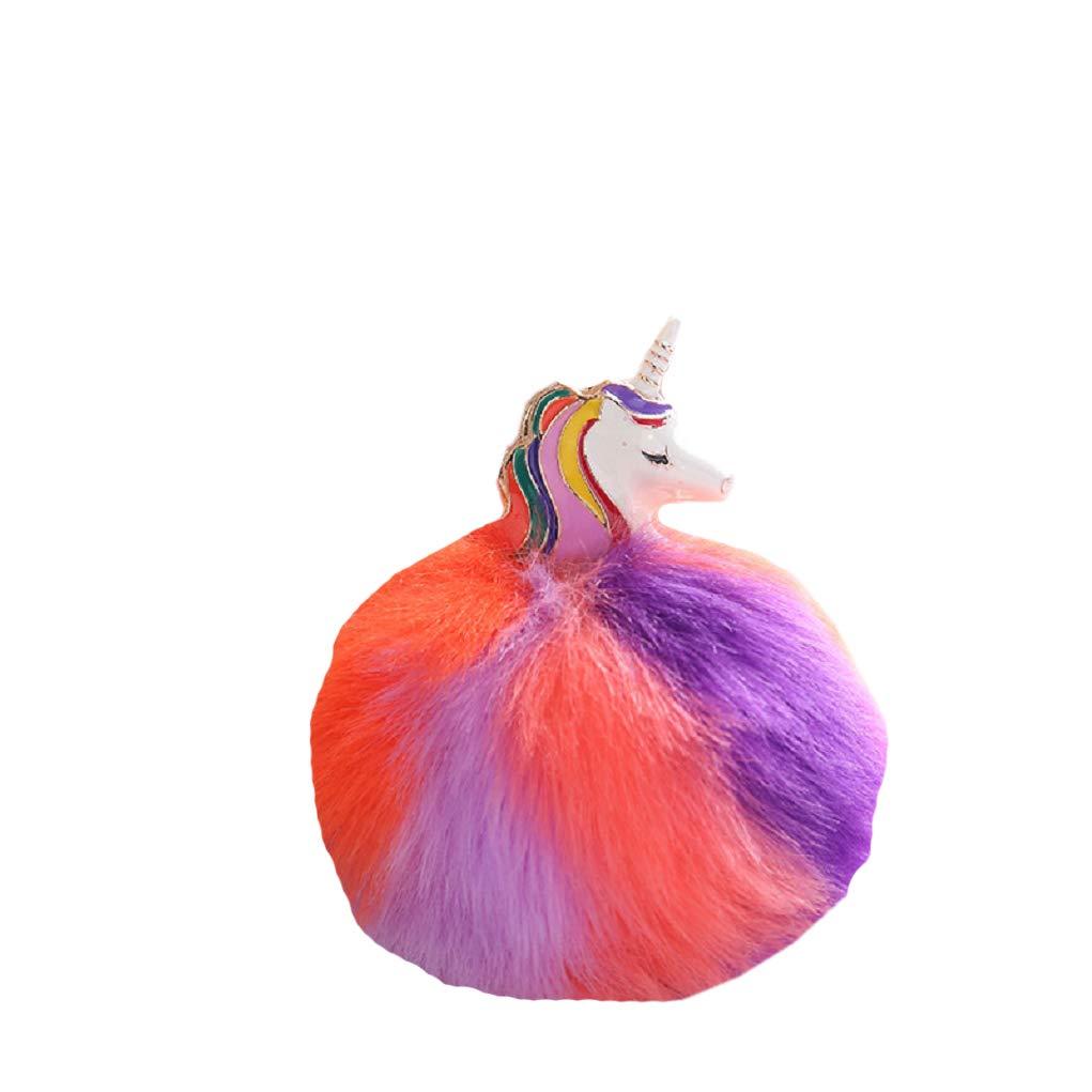 FLYFISH Unicornio Llavero Pom Pompones Pelota pomp/ón de Piel de Conejo Artificial Clave Las Mujeres de la Cadena Bolsa de Llavero de Coche Porte Clef Holder Mullido Pom Pom 02