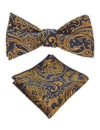 JEMYGINS Original Men Bow Tie Silk Self bowtie & Square Hanky Set
