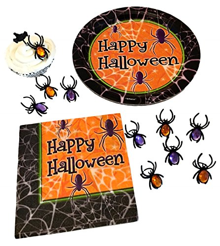 MK Creations Halloween Party Paper Plates, Napkins, Spider
