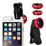 KingMas Universal Clip-on 3 in 1 Fisheye Wide Angle Macro Camera Lens for iPhone 6 5 5S 4 4S Samsung HTC (Red)