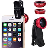 KINGMAS 3 in 1 Universal Fish Eye & Macro Clip Camera Lens Kit for iPad iPhone 6 5 4 Samsung HTC and Most smartphones (Red)