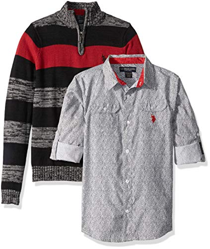 U.S. Polo Assn. Boys' Big Sweater and Short Sleeve Woven Shirt Set, Pullover Multi Plaid, 8
