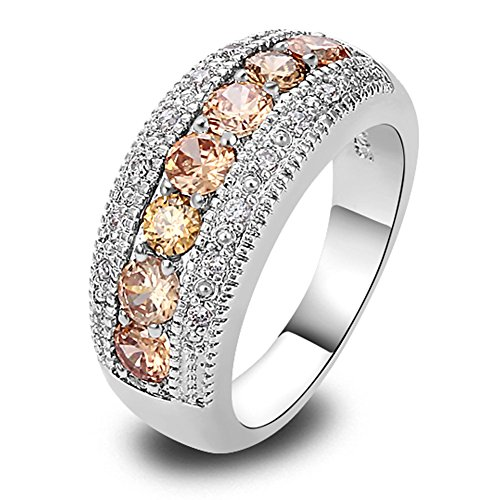 Slyq Jewelry Champagne Morganite Silver Band Ring Size 6 7 8 9 10 11 12 13 New Fashion Ring - Outlets Rehoboth