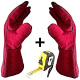 Welding & BBQ Gloves, Premium Grade A Cowhide Leather, Heavy Duty Hand Shield, Extreme Heat & Wear Resistant, Grill, Fireplace, Work, Garden, Oven & Barbecue Cooking Baking Smoking Gloves ((Red)