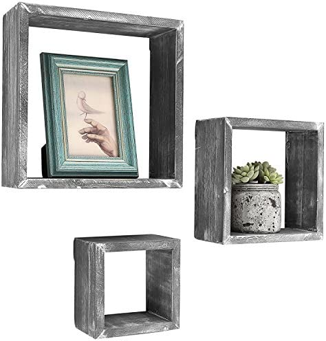 MyGift Barnwood Gray Wall Mounted Wood Shadow Boxes, Square Floating Display Shelves, Set of 3