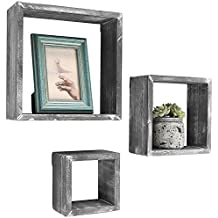 Barnwood Gray Wall Mounted Wood Shadow Boxes, Square Floating Display Shelves, Set of 3