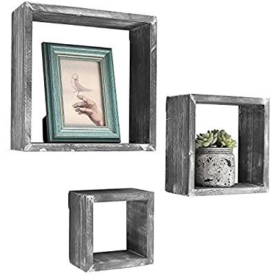 MyGift Barnwood Gray Wall Mounted Wood Shadow Boxes, Square Floating Display Shelves, Set of 3 - Set of 3 freestanding or wall-mountable wooden shadow boxes with a rustic barnwood-gray finish. Can be used to showcase keepsakes, collectibles, and awards, or for creating unique decorative displays. Each display shelf comes in a different size and can be grouped together to created a decorative wall collage or used separately. - wall-shelves, living-room-furniture, living-room - 51e0MIobe L. SS400  -