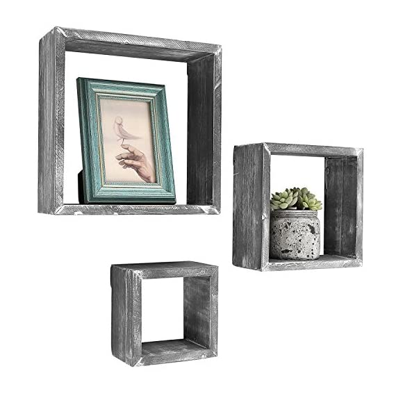 MyGift Barnwood Gray Wall Mounted Wood Shadow Boxes, Square Floating Display Shelves, Set of 3 - Set of 3 freestanding or wall-mountable wooden shadow boxes with a rustic barnwood-gray finish. Can be used to showcase keepsakes, collectibles, and awards, or for creating unique decorative displays. Each display shelf comes in a different size and can be grouped together to created a decorative wall collage or used separately. - wall-shelves, living-room-furniture, living-room - 51e0MIobe L. SS570  -