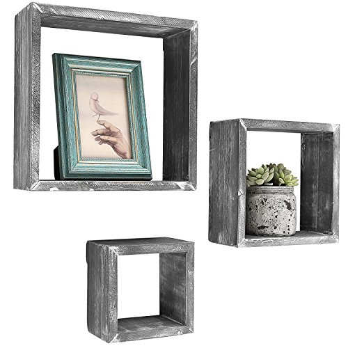 Tribute Box Wooden (Barnwood Gray Wall Mounted Wood Shadow Boxes, Square Floating Display Shelves, Set of 3)